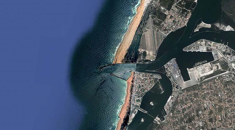 Photo aérienne d'une partie de la lagune